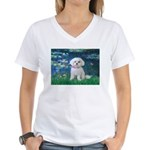 Lilies / Maltese Women's V-Neck T-Shirt