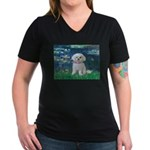 Lilies / Maltese Women's V-Neck Dark T-Shirt
