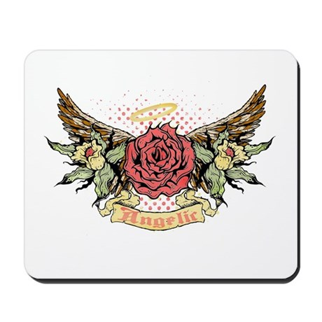 Angelic Winged Rose Mousepad