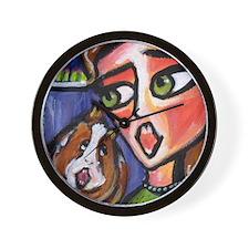 Guinea Pig sings along w lady Wall Clock