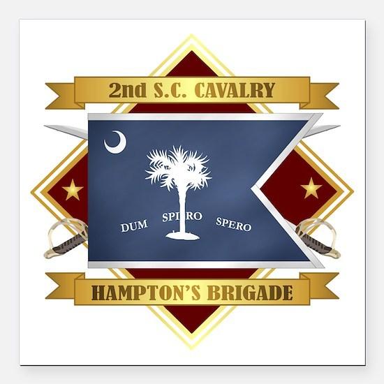 "2nd South Carolina Cavalry Square Car Magnet 3"" x"