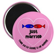 Just Married Pink Magnet