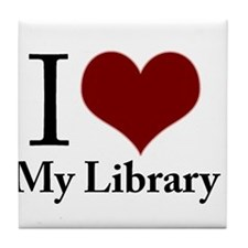 Cute I love my public library Tile Coaster