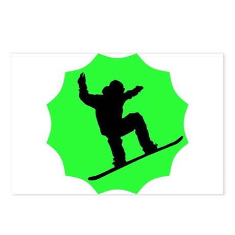 Green Snowboarder Postcards (Package of 8)