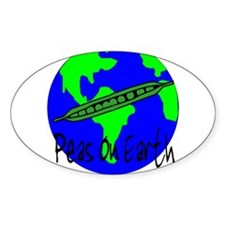 Peas On Earth Oval Decal