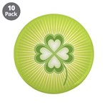 "Retro Good Luck 4 Leaf Clover 3.5"" Button (10 pack"