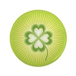 "Retro Good Luck 4 Leaf Clover 3.5"" Button"