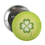 "Retro Good Luck 4 Leaf Clover 2.25"" Button"