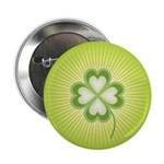 "Retro Good Luck 4 Leaf Clover 2.25"" Button (10 pac"