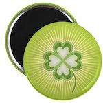 "Retro Good Luck 4 Leaf Clover 2.25"" Magnet (10 pac"