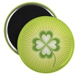 "Retro Good Luck 4 Leaf Clover 2.25"" Magnet (100 pa"