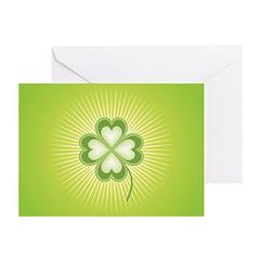 Retro Good Luck 4 Leaf Clover Greeting Cards (Pk o