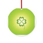 Retro Good Luck 4 Leaf Clover Ornament (Round)