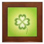 Retro Good Luck 4 Leaf Clover Framed Tile