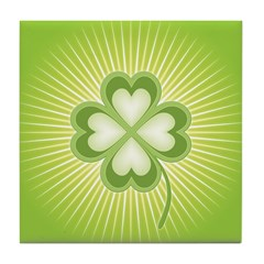 Retro Good Luck 4 Leaf Clover Tile Drink Coaster