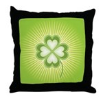 Retro Good Luck 4 Leaf Clover Throw Pillow