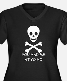 YOU HAD ME AT YO HO  Women's Plus Size V-Neck Dark