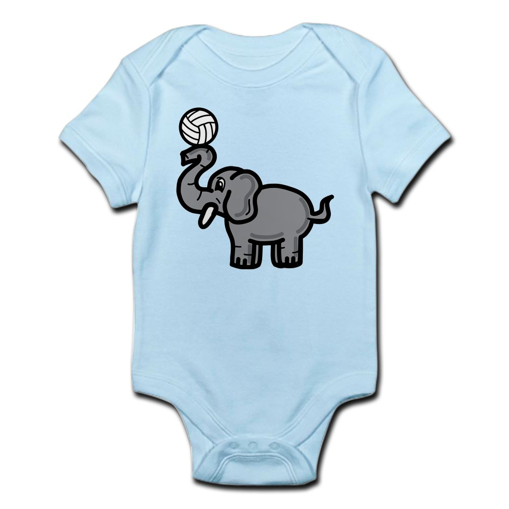 CafePress Elephant Volleyball Cute Infant Bodysuit Baby Romper 225067175