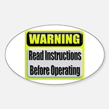 Read Instructions First Oval Decal