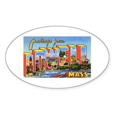 Lowell Massachusetts Greetings Oval Decal