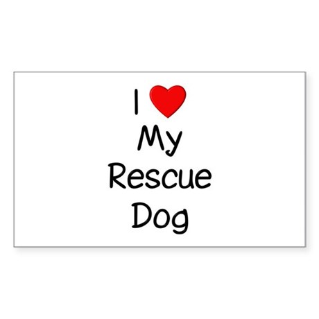 I Love My Rescue Dog Sticker (Rectangle)