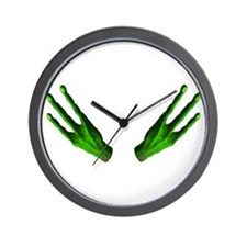 Alien Hands Green Wall Clock