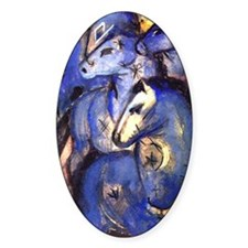 Blue Horses by Franz Marc Oval Decal