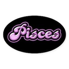 Retro Zodiac Pisces Oval Decal