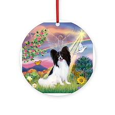 Cloud Angel & Papillon Ornament (Round)