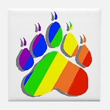 RAINBOW BEAR PAW--SHADOW Tile Coaster