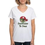 Surrender Ye Peas Pirate Women's V-Neck T-Shirt