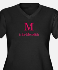 M is for Meredith Women's Plus Size V-Neck Dark T-