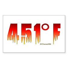 451 Degrees Fahrenheit Rectangle Decal