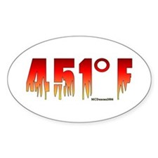 451 Degrees Fahrenheit Oval Decal