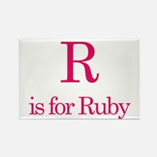 R is for Ruby Rectangle Magnet