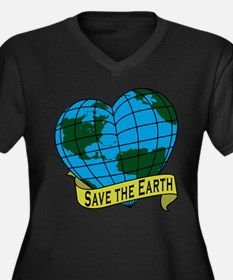 Save the Earth Women's Plus Size V-Neck Dark T-Shi