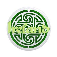 Ireland with Celtic Circle Ornament (Round)