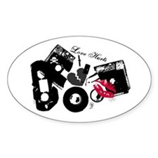 Love Hurts Mix Tape Oval Decal