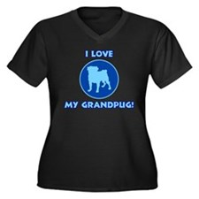 I Love My Grandpug (blue) Women's Plus Size V-Neck