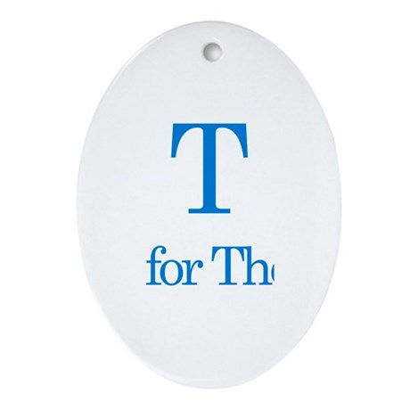 T is for Theo Oval Ornament