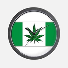 Marijuana Green  Canadian Fla Wall Clock