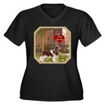 Cavalier King Women's Plus Size V-Neck Dark T-Shir