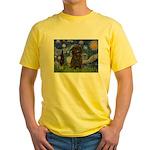 Starry Night / Affenpinscher Yellow T-Shirt