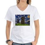 Starry Night / Affenpinscher Women's V-Neck T-Shir
