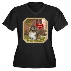 Collie Women's Plus Size V-Neck Dark T-Shirt