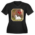 Maltese Women's Plus Size V-Neck Dark T-Shirt