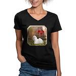 Maltese Women's V-Neck Dark T-Shirt