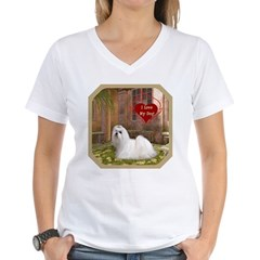 Maltese Women's V-Neck T-Shirt