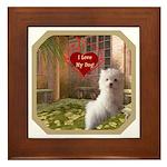 Maltese Puppy Framed Tile