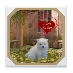 Pomeranian Puppy Tile Coaster